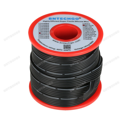24 AWG Flexible Soft Silicone Rubber Parallel Wire Strand Wire High Temp 200 deg C 600V 6 Pin Black 25 ft