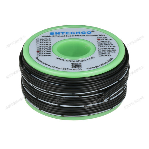 26 AWG Flexible Soft Silicone Rubber Parallel Wire Strand Wire High Temp 200 deg C 600V 4 Pin Black 25 ft