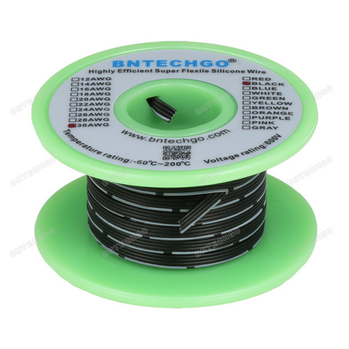 30 AWG Flexible Soft Silicone Rubber Parallel Wire Strand Wire High Temp 200 deg C 600V 4 Pin Black 25 ft