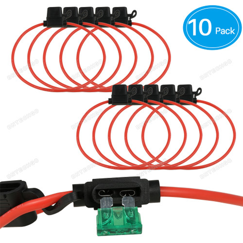 BNTECHGO 12 AWG (10 Pack )Inline Fuse Holder for 30A ATC/ATO Blade Automotive Fuse 15.74 inches(40 CM)