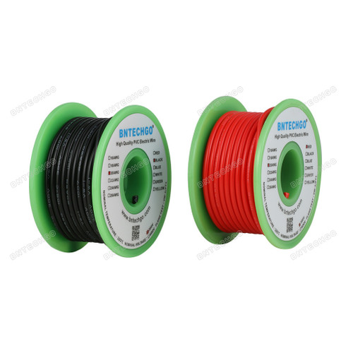 BNTECHGO 20 AWG 1007 Solid Wire Electric wire Red and Black Each Color 25 ft Per Reel For DIY