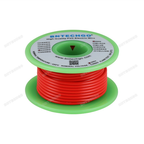 BNTECHGO 24 AWG 1007 Electric wire Solid Tinned Copper Wire Red 25 ft Per Reel For DIY