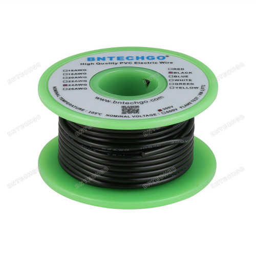 BNTECHGO 24 AWG 1007 Electric wire 300V Solid Tinned Copper Wire Black 25 ft Per Reel For DIY