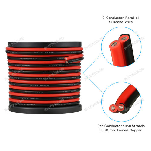 10 Gauge Flexible 2 Conductor Parallel Silicone Wire Spool Red Black
