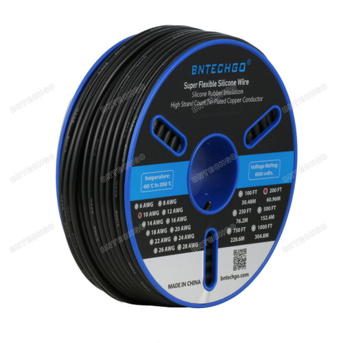 BNTECHGO 10 Gauge Silicone Wire Spool Black 200 feet
