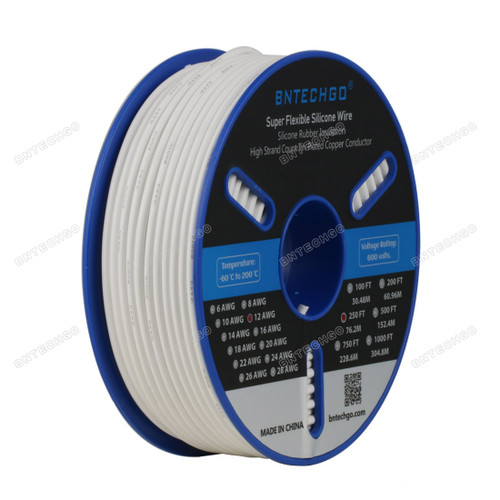 BNTECHGO 12 Gauge Silicone Wire Spool White 250 feet