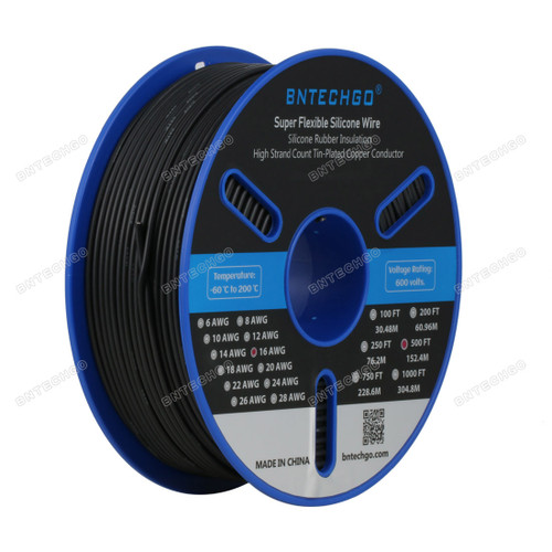 BNTECHGO 16 Gauge Silicone Wire Spool Black 500 feet