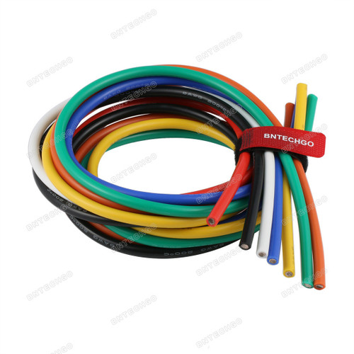 BNTECHGO 8 Gauge Silicone Wire Kit 7 Color Each 5 ft Flexible 8 AWG Stranded Tinned Copper Wire