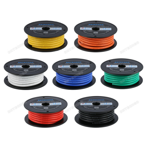 8 Gauge Silicone Wire Kit 7 Color Each 25 ft Flexible 8 AWG