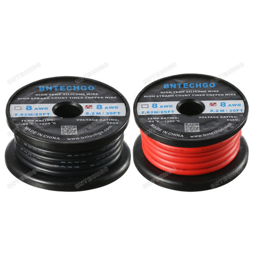 8 Gauge Silicone Wire Ultra Flexible 60 Feet