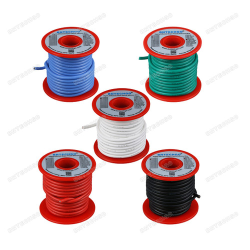 14 Gauge Silicone Wire Kit Ultra Flexible 5 Color Each 25 ft
