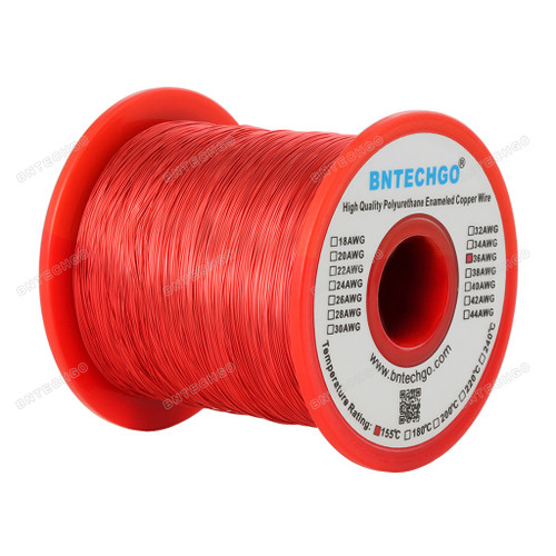 "Perfect enameled magnet wire for implementing into your science projects - 1.0 lb - 0.0049""Diameter 1 Spool Coil Red"