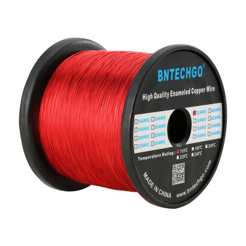 """BNTECHGO 32 AWG Magnet Wire -  1.0 lb - 0.0078"""" Diameter 1 Spool Coil Red Temperature Rating 155 Degree C"""