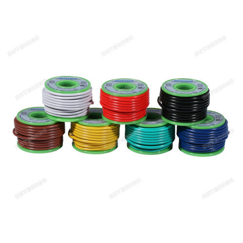 BNTECHGO 18 Gauge PVC 1007 Solid Electric Wire Kit 7 Color Each 20 ft 18 AWG 1007 Hook Up Wire