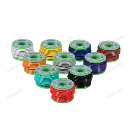 BNTECHGO 18 Gauge PVC 1007 Solid Electric Wire Kit 10 Color Each 20 ft 18 AWG 1007 Hook Up Wire