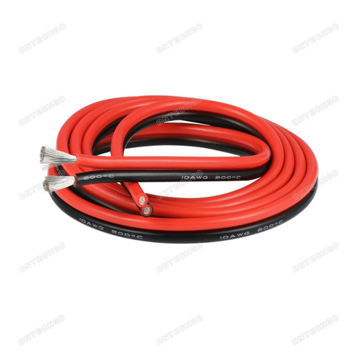 BNTECHGO 10 Gauge Flexible 2 Conductor Parallel Silicone Wire Spool Red Black High Resistant 200 deg C 600V for Single Color LED Strip Extension Cable Cord lead wire 3ft Stranded Copper Wire