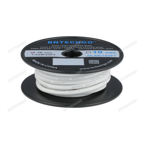 BNTECHGO 10 Gauge Silicone Rubber Wire 20 ft White Ultra Flexible Silicone Wire 600V 200 deg C High Resistant 10 Awg Silicone Wire 1050 Strands 0.08mm Fine Tinned Copper Conductor Wire