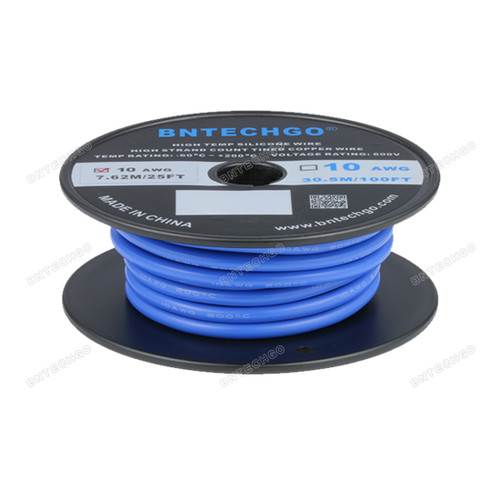 BNTECHGO 10 Gauge Silicone Rubber Wire 20 ft Blue Ultra Flexible Silicone Wire 600V 200 deg C High Resistant 10 Awg Silicone Wire 1050 Strands 0.08mm Fine Tinned Copper Conductor Wire