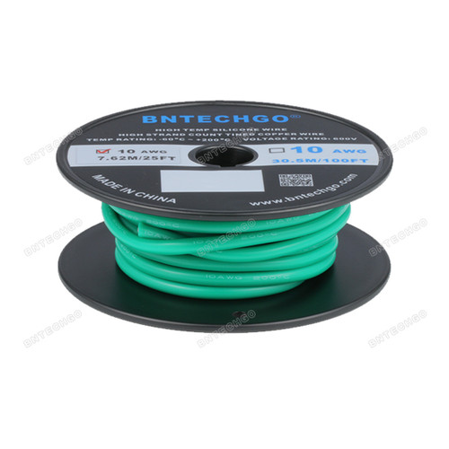BNTECHGO 10 Gauge Silicone Rubber Wire 20 ft Green Ultra Flexible Silicone Wire 600V 200 deg C High Resistant 10 Awg Silicone Wire 1050 Strands 0.08mm Fine Tinned Copper Conductor Wire