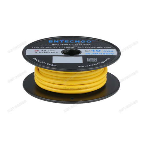 BNTECHGO 10 Gauge Silicone Rubber Wire 20 ft Yellow Ultra Flexible Silicone Wire 600V 200 deg C High Resistant 10 Awg Silicone Wire 1050 Strands 0.08mm Fine Tinned Copper Conductor Wire