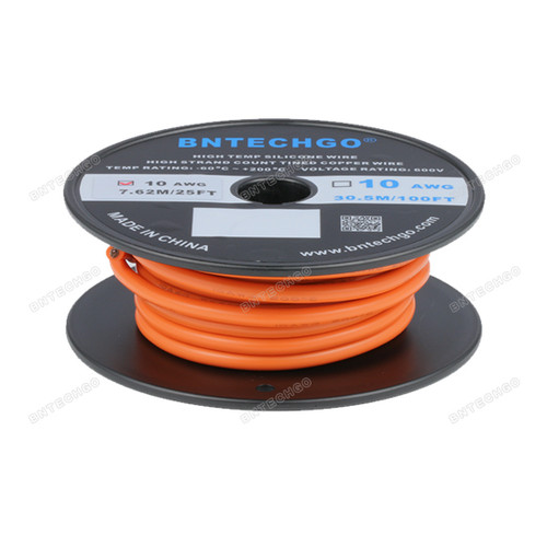 BNTECHGO 10 Gauge Silicone Rubber Wire 20 ft Orange Ultra Flexible Silicone Wire 600V 200 deg C High Resistant 10 Awg Silicone Wire 1050 Strands 0.08mm Fine Tinned Copper Conductor Wire