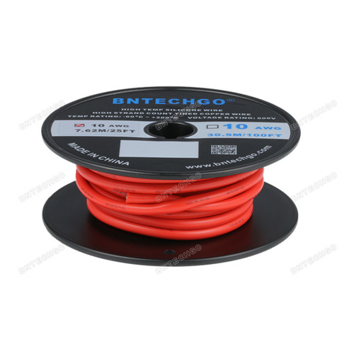 BNTECHGO 10 Gauge Silicone Rubber Wire 25 ft Red
