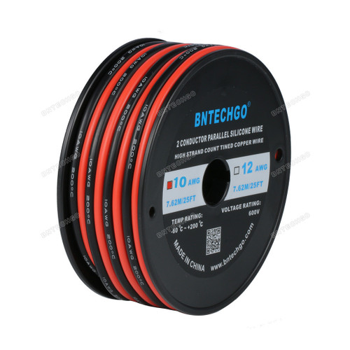 BNTECHGO 10 Gauge Flexible 2 Conductor Parallel Silicone Wire Spool Red Black High Resistant 200 deg C 600V for Single Color LED Strip Extension Cable Cord,model,lead wire 25ft Stranded Copper Wire