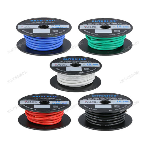 BNTECHGO 10 Gauge Silicone Wire Kit 5 Color Each 25 ft