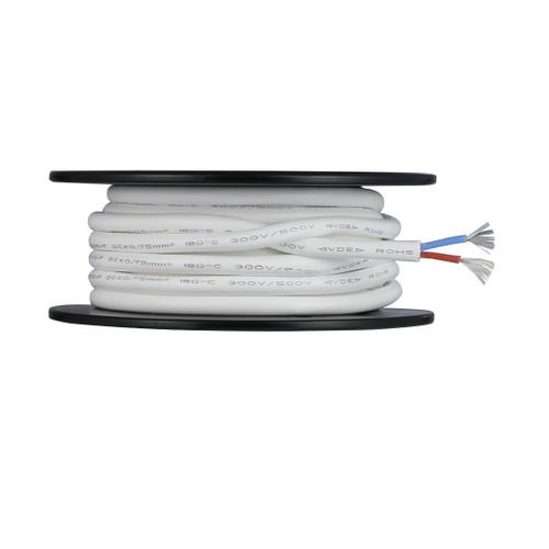 BNTECHGO Ultra Flexible 0.75mm² 2 Conductors Silicone Tinned Copper Wire Spool White 50ft