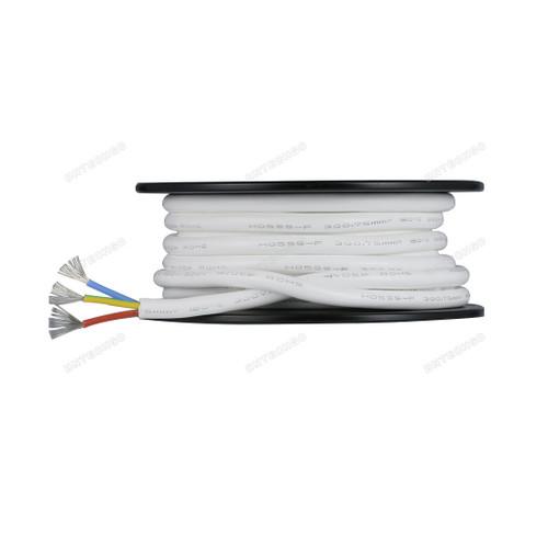 BNTECHGO Ultra Flexible 0.75mm² 3 Conductors Silicone Tinned Copper Wire Spool White 50ft