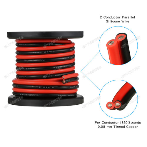 BNTECHGO 8 Gauge Flexible 2 Conductor Parallel Silicone Wire Spool Red Black High Resistant 200 deg C 600V for Single Color LED Strip Extension Cable Cord lead wire 100ft Stranded Copper Wire