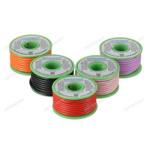 Ultra Flexible 16 Gauge Silicone Wire Spool 5 Color Red Black Pink Purple Orange