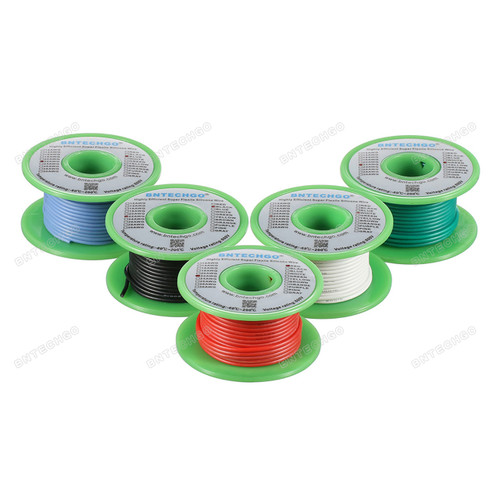 Ultra Flexible 22 Gauge Silicone Wire Spool 5 Color Red Black White Blue Green