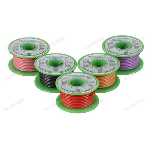 Ultra Flexible 18 Gauge Silicone Wire Spool 5 Color Red Black Pink Purple Orange