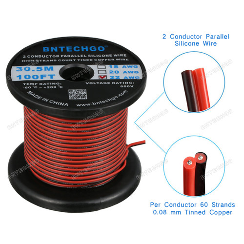 18 Gauge Flexible 2 Conductor Parallel Silicone Wire Spool 25ft Red Black