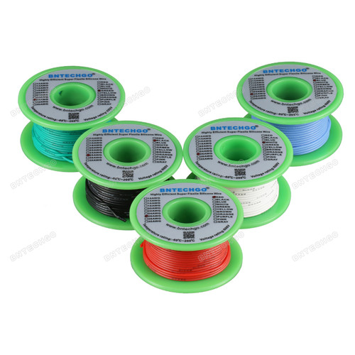 Ultra Flexible 26 Gauge Silicone Wire Spool 5 Color Red Black White Blue Green