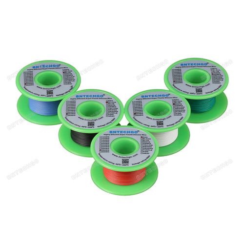 28 gauge silicone wire spool 5 color red black white blue green each color 50 ft,total 250 feet