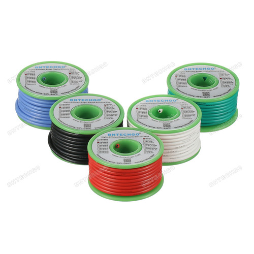 Ultra Flexible 16 Gauge Silicone Wire Spool 5 Color Red,Black,White,Blue and Green