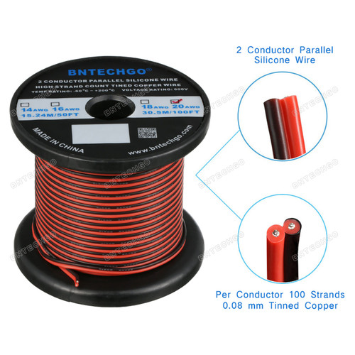 20 AWG red black 2 conductor parallel silicone wire