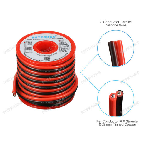 14 Gauge 2 conductor parallel silicone wire Core made with 400 strands tinned copper wire