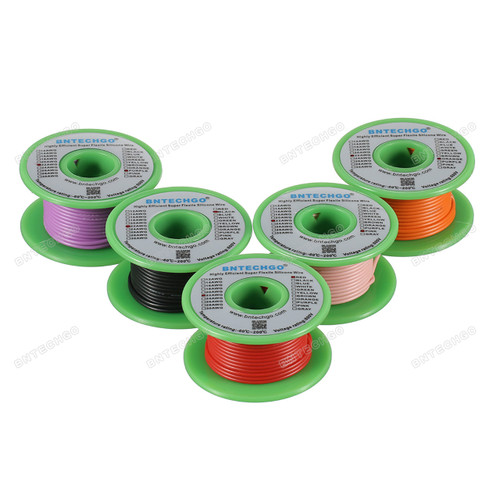 Ultra Flexible 22 Gauge Silicone Wire Spool 5 Color Red Black Pink Purple Orange