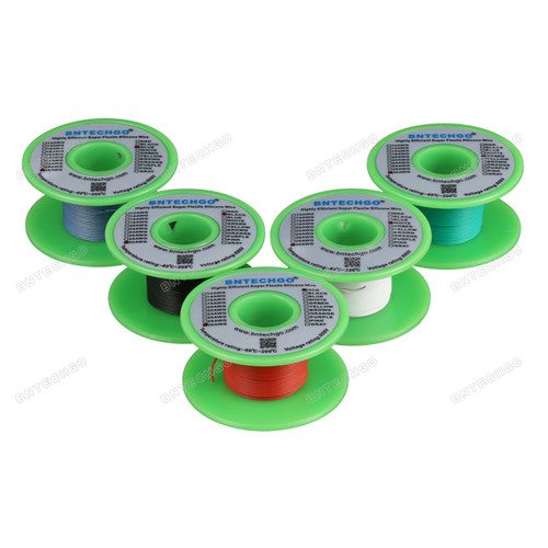 Ultra Flexible 30 Gauge Silicone Wire Spool 5 Color Red Black White Blue Green each color 50 ft,total 250 feet.