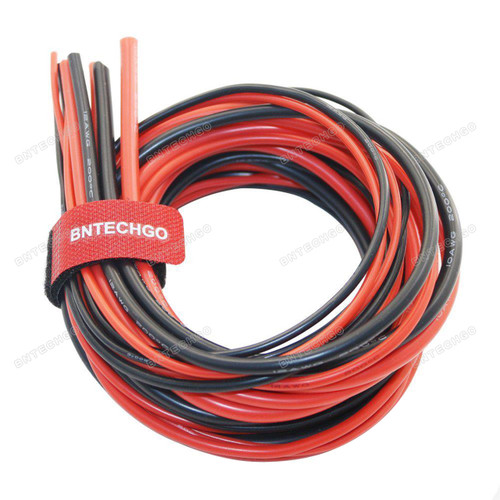 BNTECHGO 10/12/14/16/18 Gauge Silicone Wire 600V 30 Feet(3 ft Black and 3ft Red: 10AWG, 12AWG, 14AWG, 16AWG and 18AWG)
