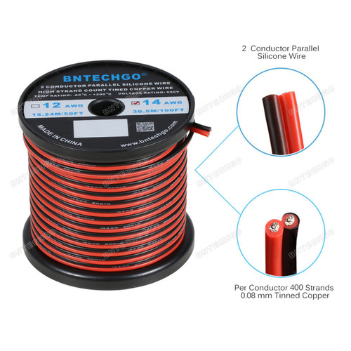 14 Gauge Flexible 2 Conductor Parallel Silicone Wire Spool Red Black