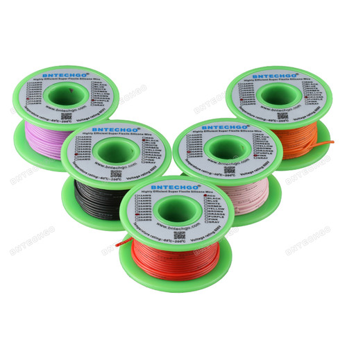 Ultra Flexible 26 Gauge Silicone Wire Spool 5 Color