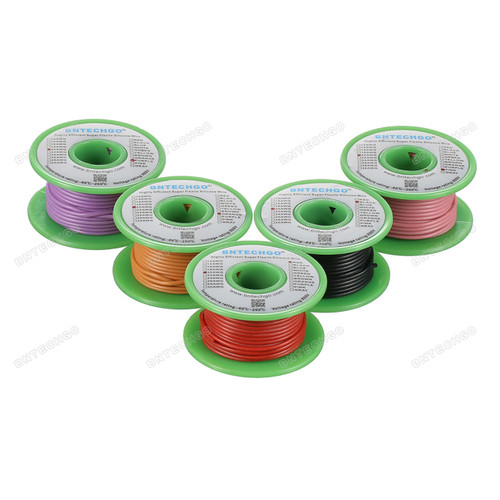 Ultra Flexible 20 Gauge Silicone Wire Spool 5 Color Red Black Pink Purple Orange