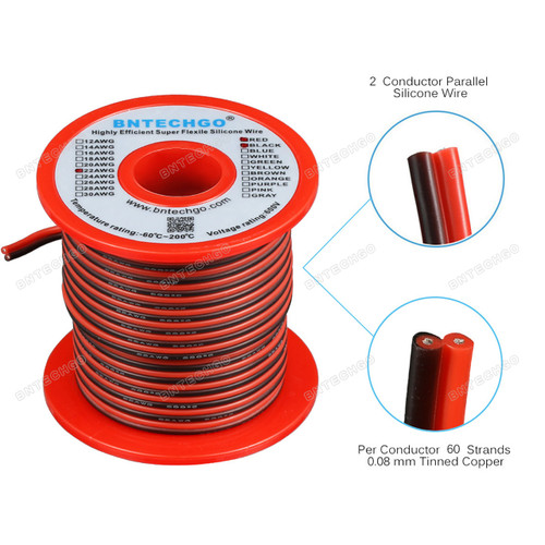 22 Gauge Flexible 2 Conductor Parallel Silicone Wire Spool Red Black