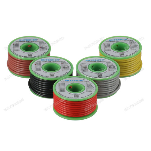 Ultra Flexible 16 Gauge Silicone Wire Spool 5 Color Red Black Yellow Brown Gray
