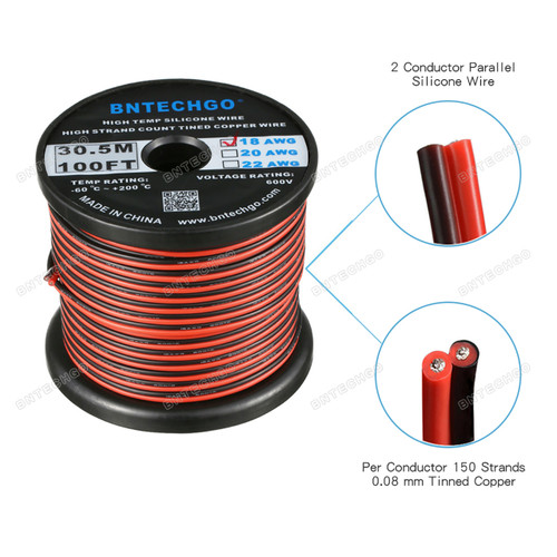 18 Gauge Flexible 2 Conductor Parallel Silicone Wire Spool Red Black