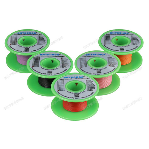Ultra Flexible 30 Gauge Silicone Wire Spool 5 Color Red Black Pink Purple Orange each color 50 ft,total 250 feet.